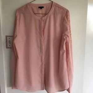 Talbots blush lace embellished blouse